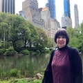 Designer Pattie Moore in Central Park.  In the 1970s she would come here as a young designer, dressed as an older woman, to talk with other seniors about their lives.