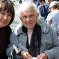 Designer Pattie Moore in Washington Square discussing life in the city with local resident Doris.